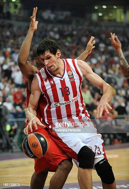 Boban Marjanovic, #13 of Crvena Zvezda Telekom Belgrade in action during the 2013-2014 Turkish Airlines Euroleague Regular Season date 1 game between...