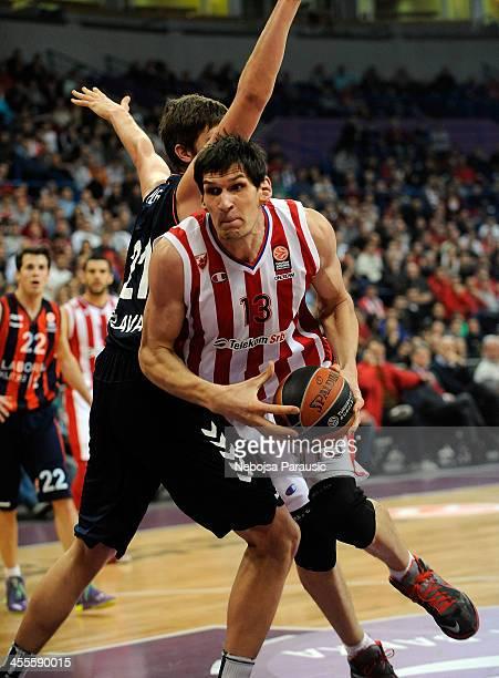 Boban Marjanovic, #13 of Crvena Zvezda Telekom Belgrade in action during the 2013-2014 Turkish Airlines Euroleague Regular Season Date 9 game between...