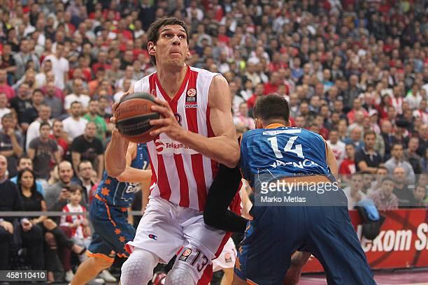 Boban Marjanovic, #13 of Crvena Zvezda Telekom Belgrade in action during the 2014-2015 Turkish Airlines Euroleague Basketball Regular Season Date 3...