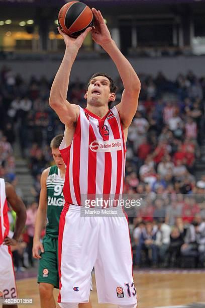 Boban Marjanovic, #13 of Crvena Zvezda Telekom Belgrade in action during the Euroleague Basketball Top 16 Date 6 game between Crvena Zvezda Telekom...