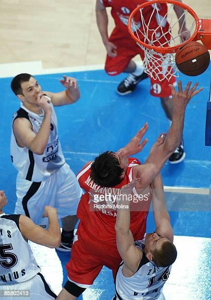 Boban Marjanovic, #20 of Hemofarm Stada competes with Donatas Zavackas, #14 of Lietuvos Rytas Eurocup Basketball Semi Final 1, Hemofarm Stada v...