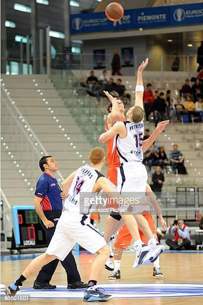 Boban Marjanovic, #20 of Hemofarm Stada competes with Marijonas Petravicius, #15 of Lietuvos Rytas Eurocup Basketball Semi Final 1, Hemofarm Stada v...