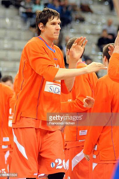 Boban Marjanovic, #20 of Hemofarm Stada during Eurocup Basketball Semi Final 1, Hemofarm Stada v Lietuvos Rytas at the Palasport on April 4, 2009 in...