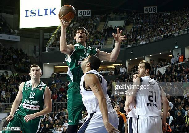 Boban Marjanovic, #21 of Zalgiris Kaunas in action against Boban Marjanovic, #21 of Zalgiris Kaunas during the 2010-2011 Turkish Airlines Euroleague...