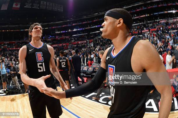 Boban Marjanovic and Tobias Harris of the LA Clippers exchange handshakes after the game against the Dallas Mavericks on February 5 2018 at STAPLES...