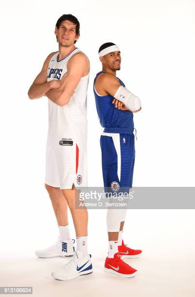 Boban Marjanovic and Tobias Harris of the LA Clippers poses for a portrait at the LA Clippers Training Center on February 01 2018 in Playa Vista...