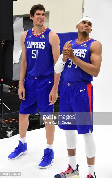 Boban Marjanovic and Tobias Harris of the Los Angeles Clippers wait to be photographed during media day at the Los Angeles Clippers Training Center...