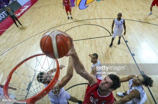 Boban Marjanovic of Serbia in action against Ismael Bako of Belgium during the FIBA Eurobasket 2017 Group D Men's basketball match between Belgium...