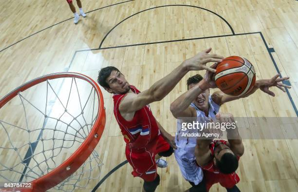 Boban Marjanovic of Serbia in action during the FIBA Eurobasket 2017 Group D Men's basketball match between Belgium and Serbia at Ulker Sports Arena...