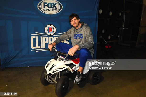 Boban Marjanovic of the LA Clippers arrives before the game against the New Orleans Pelicans on January 14 2019 at STAPLES Center in Los Angeles...