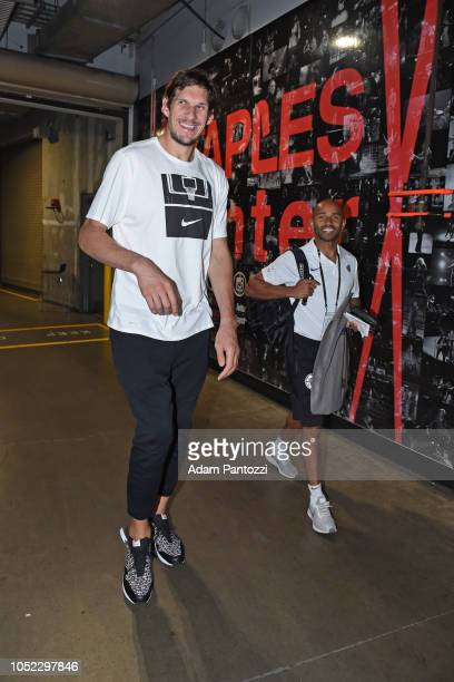 Boban Marjanovic of the LA Clippers arrives to the arena before the preseason game against Maccabi Haifa on October 11 2018 at Staples Center in Los...