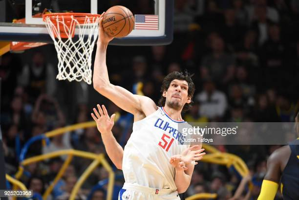 Boban Marjanovic of the LA Clippers catches a pass during the game against the Denver Nuggets at Pepsi Center on February 27 2018 in Denver Colorado...