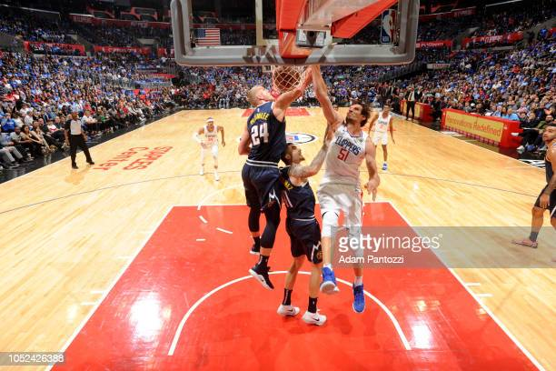 Boban Marjanovic of the LA Clippers dunks the ball against the Denver Nuggets during a game on October 17 2018 at Staples Center in Los Angeles...