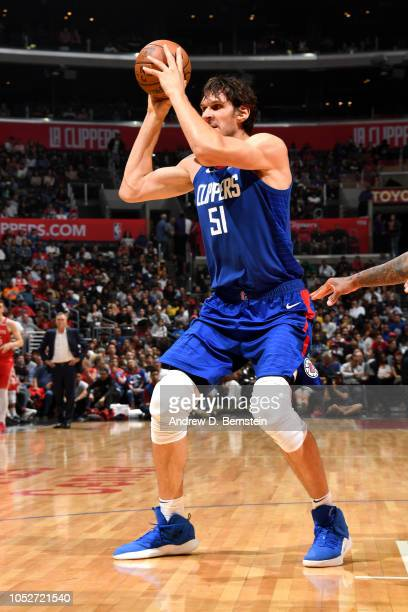 Boban Marjanovic of the LA Clippers handles the ball against the Houston Rockets on October 21 2018 at Staples Center in Los Angeles California NOTE...