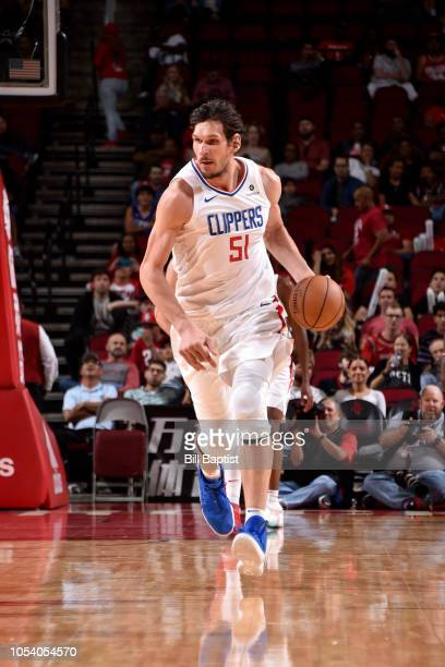Boban Marjanovic of the LA Clippers handles the ball against the Houston Rockets on October 26 2018 at the Toyota Center in Houston Texas NOTE TO...