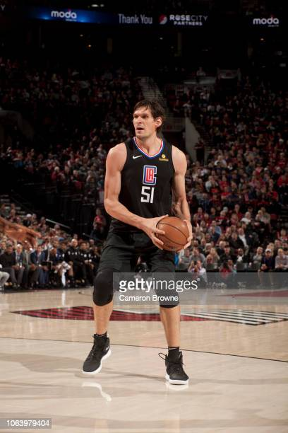 Boban Marjanovic of the LA Clippers handles the ball against the Portland Trail Blazers on November 8 2018 at the Moda Center Arena in Portland...