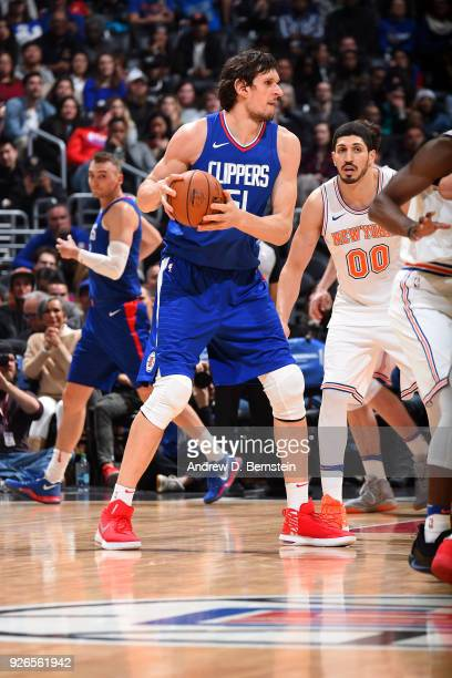 Boban Marjanovic of the LA Clippers handles the ball during the game against the New York Knicks on March 2 2018 at STAPLES Center in Los Angeles...
