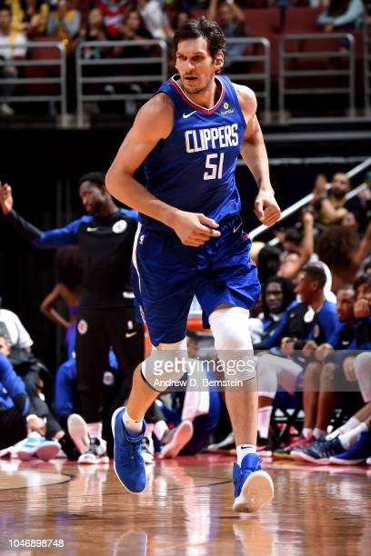 Boban Marjanovic of the LA Clippers is seen against the Los Angeles Lakers during a preseason game on October 6 2018 at Honda Center in Anaheim...