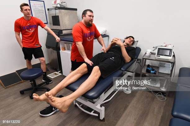 Boban Marjanovic of the LA Clippers is stretched prior to the game against the Chicago Bulls on February 3 2018 at STAPLES Center in Los Angeles...