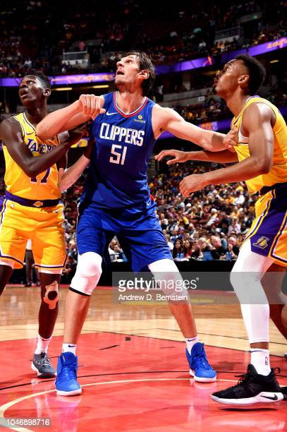 Boban Marjanovic of the LA Clippers plays defense against the Los Angeles Lakers during a preseason game on October 6 2018 at Honda Center in Anaheim...
