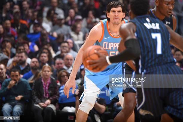 Boban Marjanovic of the LA Clippers plays defense against the Orlando Magic on March 10 2018 at STAPLES Center in Los Angeles California NOTE TO USER...