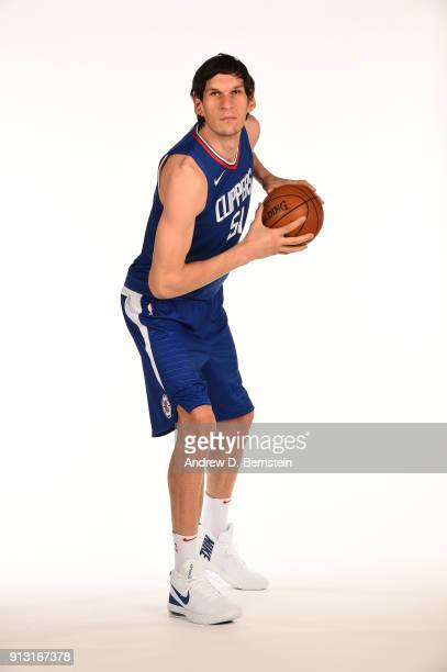 Boban Marjanovic of the LA Clippers poses for a portrait at the LA Clippers Training Center on February 01 2018 in Playa Vista California NOTE TO...