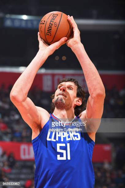 Boban Marjanovic of the LA Clippers shoots the ball against the Denver Nuggets on April 7 2018 at STAPLES Center in Los Angeles California NOTE TO...