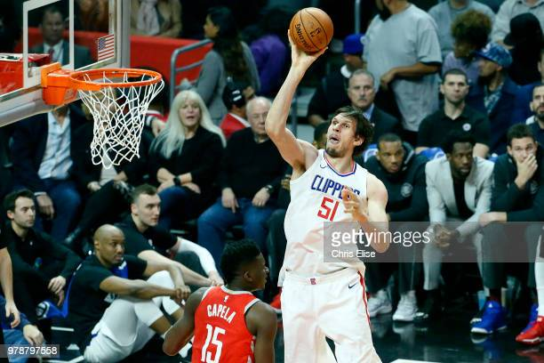Boban Marjanovic of the LA Clippers shoots the ball against the Houston Rockets on February 28 2018 at STAPLES Center in Los Angeles California NOTE...