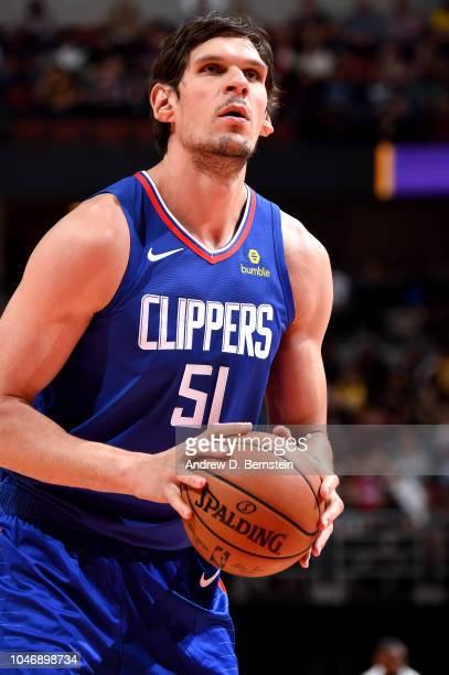 Boban Marjanovic of the LA Clippers shoots the ball against the Los Angeles Lakers during a preseason game on October 6 2018 at Honda Center in...