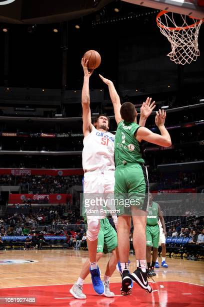 Boban Marjanovic of the LA Clippers shoots the ball against the Maccabi Haifa during a preseason game on October 11 2018 at Staples Center in Los...