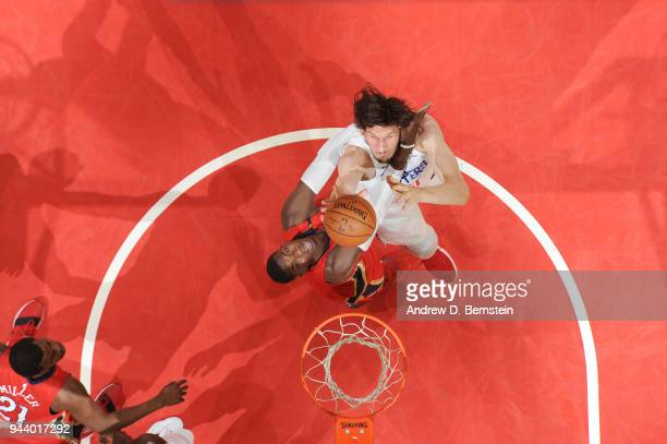 Boban Marjanovic of the LA Clippers shoots the ball against the New Orleans Pelicans on April 9 2018 at STAPLES Center in Los Angeles California NOTE...