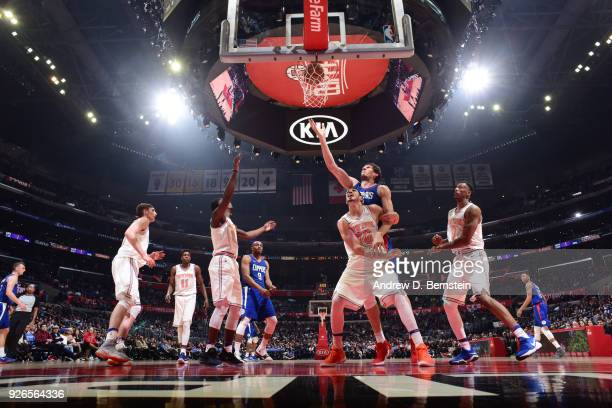 Boban Marjanovic of the LA Clippers shoots the ball during the game against the New York Knicks on March 2 2018 at STAPLES Center in Los Angeles...