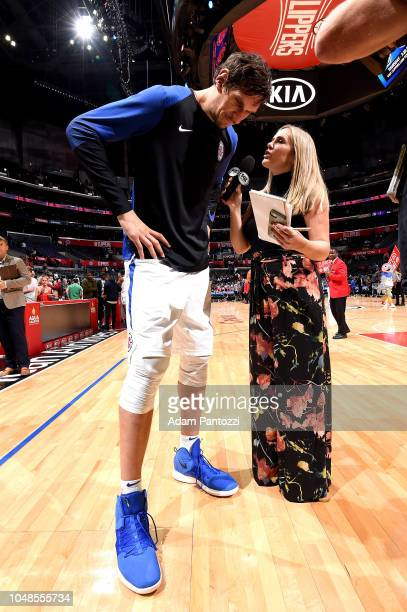 Boban Marjanovic of the LA Clippers talks with media against the Denver Nuggets during a preseason game on October 9 2018 at Staples Center in Los...
