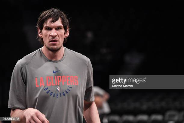 Boban Marjanovic of the LA Clippers warms up before the game against the Brooklyn Nets at Barclays Center on February 12 2018 in the Brooklyn borough...