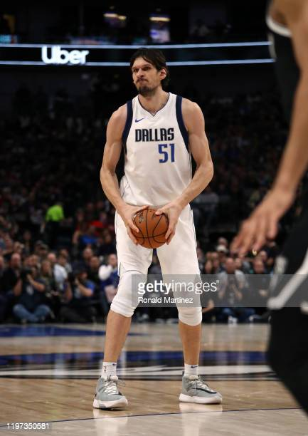 Boban Marjanovic of the Dallas Mavericks at American Airlines Center on January 02, 2020 in Dallas, Texas. NOTE TO USER: User expressly acknowledges...