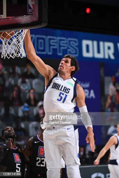 Boban Marjanovic of the Dallas Mavericks dunks the ball during the game against the LA Clippers during Round One, Game Two of the NBA Playoffs on...