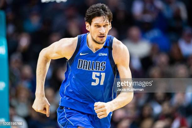 Boban Marjanovic of the Dallas Mavericks during the fourth quarter during their game against the Charlotte Hornets at Spectrum Center on February 08,...