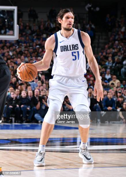 Boban Marjanovic of the Dallas Mavericks handles the ball against the Brooklyn Nets on January 2, 2020 at the American Airlines Center in Dallas,...