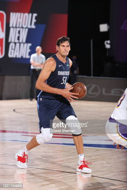 Boban Marjanovic of the Dallas Mavericks handles the ball against the Los Angeles Lakers during a scrimmage on July 23, 2020 at Visa Athletic Center...