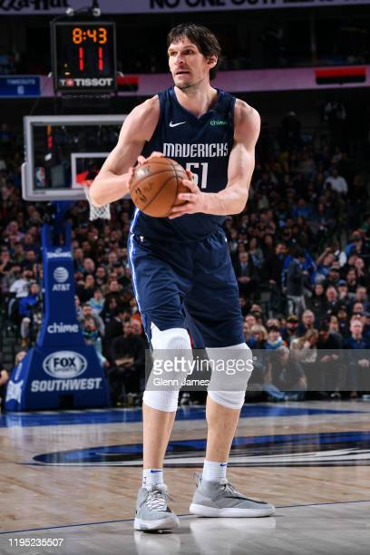 Boban Marjanovic of the Dallas Mavericks looks to pass the ball against the LA Clippers on January 21, 2020 at the American Airlines Center in...