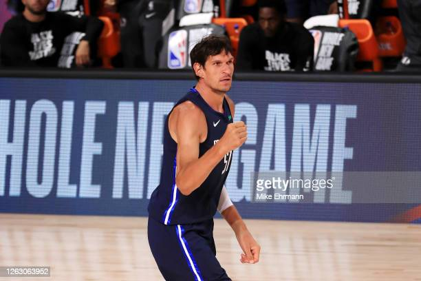 Boban Marjanovic of the Dallas Mavericks reacts during the first half against the Houston Rockets at The Arena at ESPN Wide World Of Sports Complex...