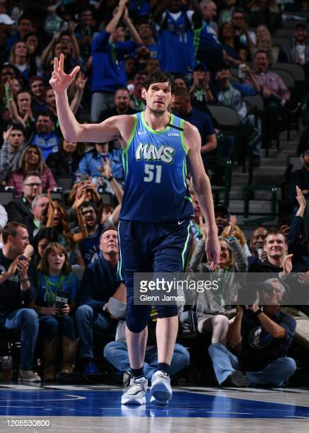 Boban Marjanovic of the Dallas Mavericks reacts to a play during the game against the Memphis Grizzlies on March 6, 2020 at the American Airlines...
