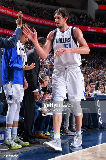 Boban Marjanovic of the Dallas Mavericks runs off the court during the game against the Brooklyn Nets on January 2, 2020 at the American Airlines...