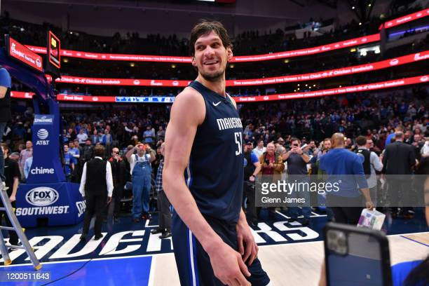 Boban Marjanovic of the Dallas Mavericks smiles after the game against the Sacramento Kings on February 12, 2020 at the American Airlines Center in...