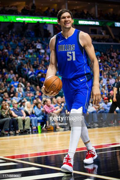 Boban Marjanovic of the Dallas Mavericks smiles during a game against the the Oklahoma City Thunder on October 8, 2019 at BOK Center in Tulsa,...