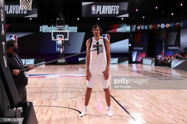 Boban Marjanovic of the Dallas Mavericks speaks to the media against the LA Clippers for Game two of the first round of the 2020 Playoffs as part of...