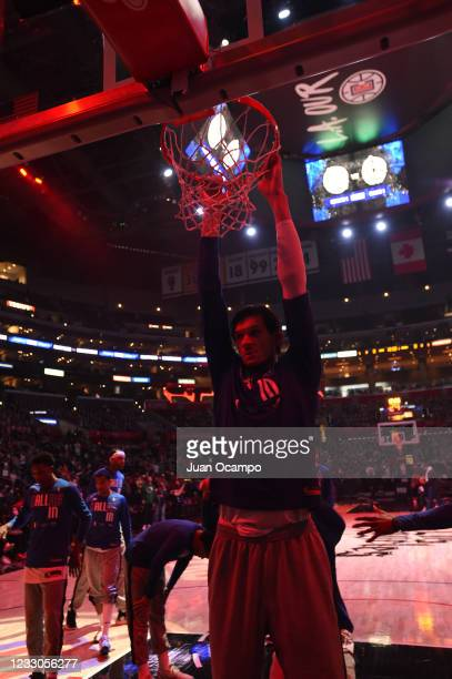 Boban Marjanovic of the Dallas Mavericks stretches before the game against the LA Clippers during Round 1, Game 1 of the the 2021 NBA Playoffs on May...