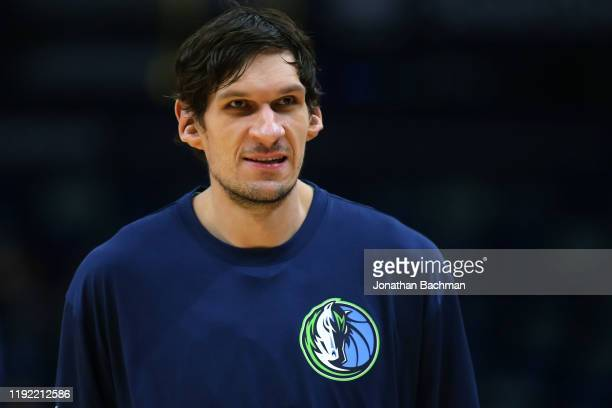Boban Marjanovic of the Dallas Mavericks warms up against the New Orleans Pelicans before a game at the Smoothie King Center on December 03, 2019 in...