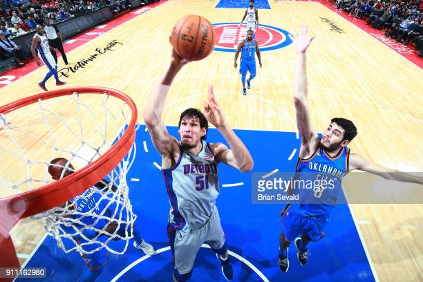Boban Marjanovic of the Detroit Pistons drives to the basket during the game against the Oklahoma City Thunder on January 27 2018 at Little Caesars...