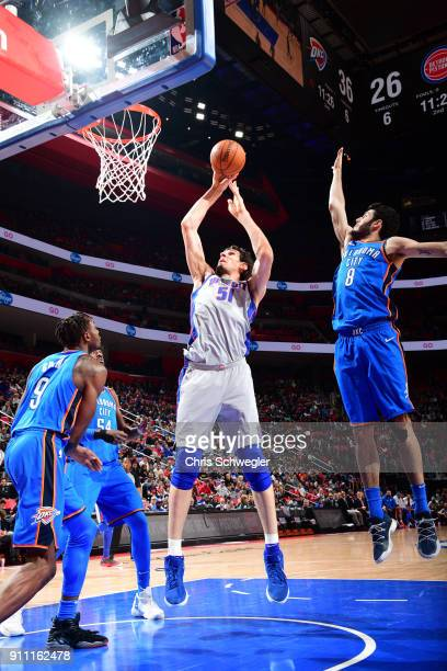 Boban Marjanovic of the Detroit Pistons dunks against the Oklahoma City Thunder on January 27 2018 at Little Caesars Arena in Detroit Michigan NOTE...